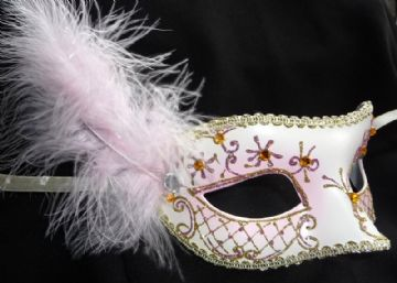 Pink jewelled glitter feather Petite Mask (a)